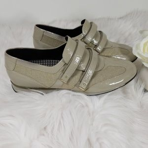 Aetrex Anna Comfort Shoes Size 9 Taupe Velcro